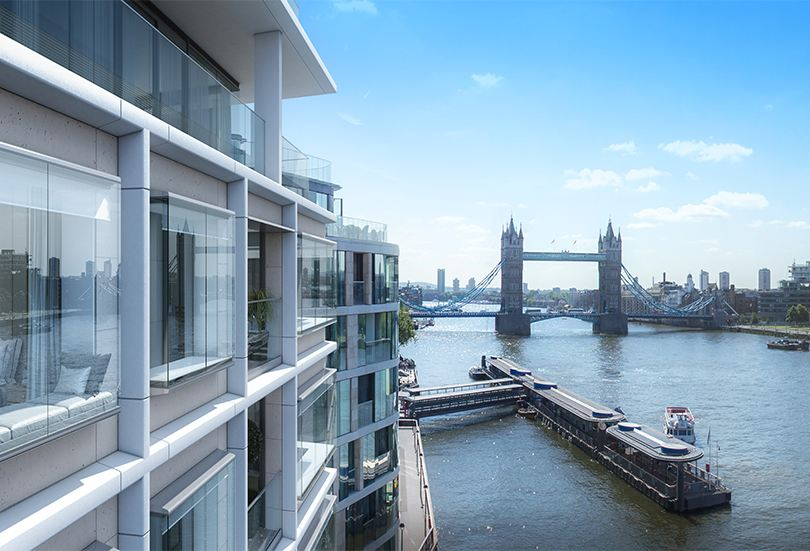 London Riverside apartments overlooking Tower Bridge